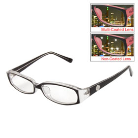 Unisex Black Plastic Arms Full Frame Multi Coated Lens Plain Plano Glasses Eyeglasses