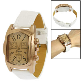 Women Rectangle Design Case White Faux Leather Band Quartz Wrist Watch