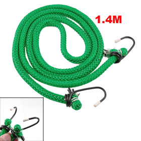 Green Nylon Coated Rubber Inside Metal Hooks Laggage Packing Cord 1.4M