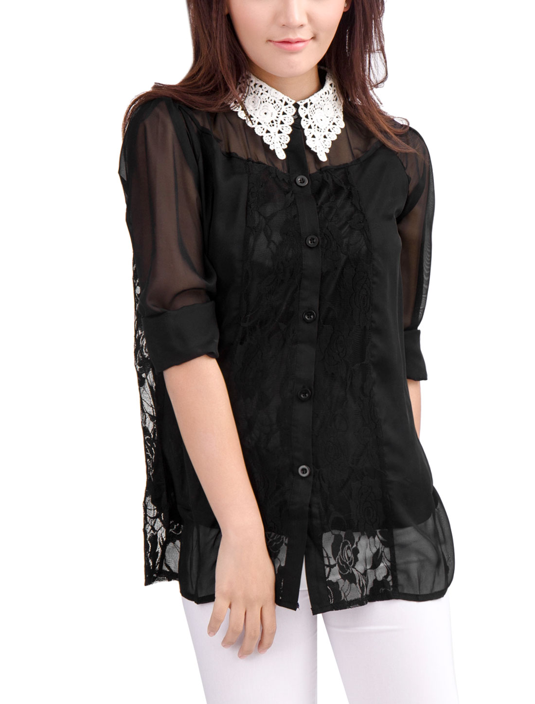 Women Point Collar Black Lace Guipure See Through Chiffon Blouse M