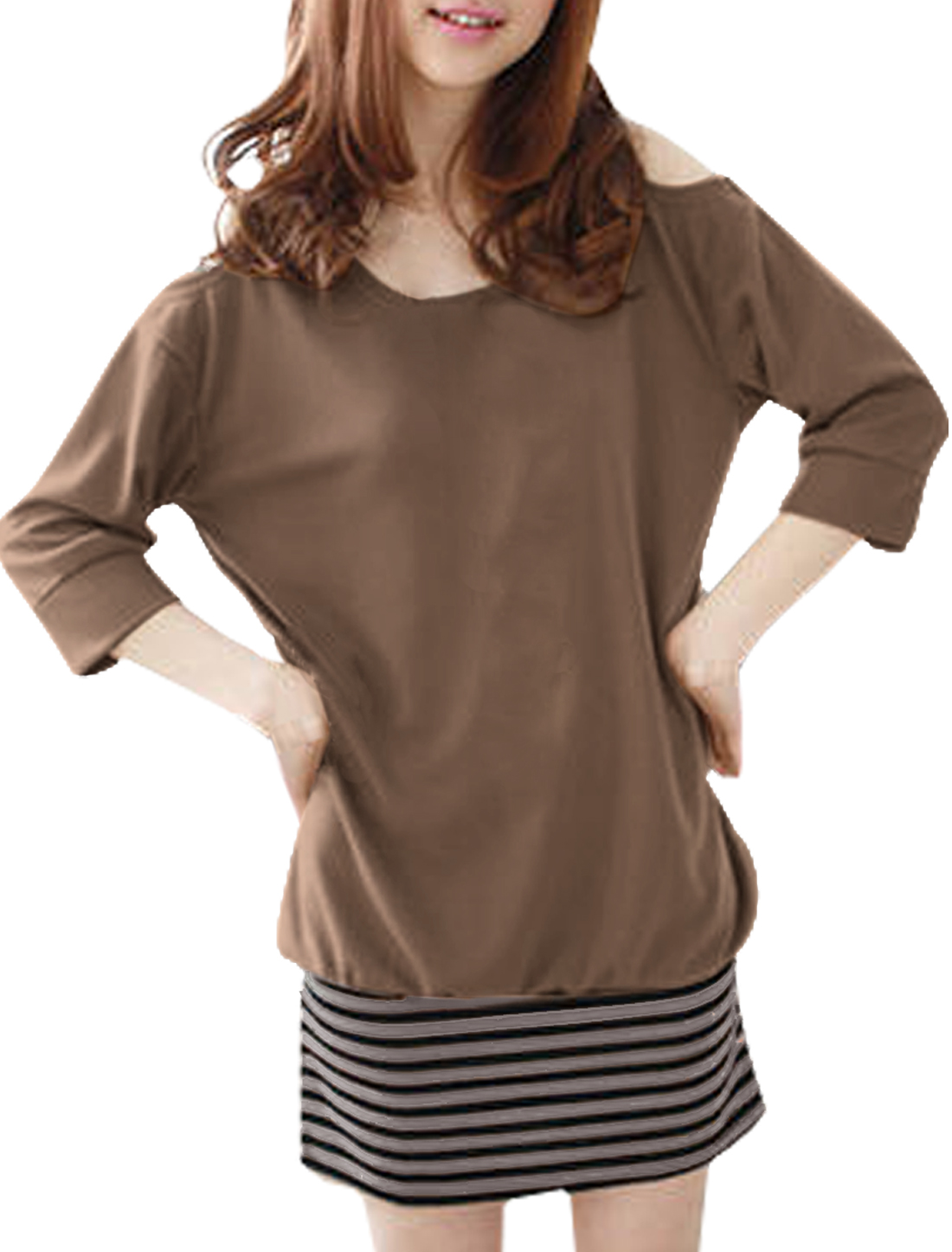 Woman Cutout Shoulder Coffee Color Layared Dresses Tunic Mini Dress M