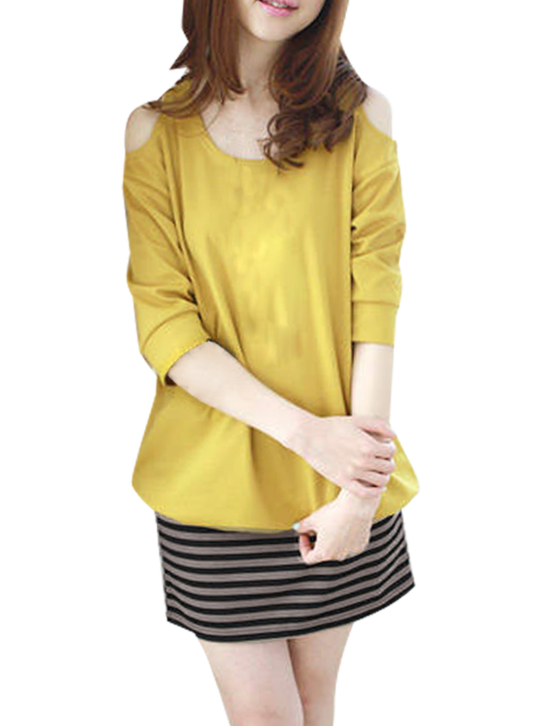 Woman Hollow out Shoulder Yellow Fake Two Piece Design Stretchy Tunic Mini Dress M