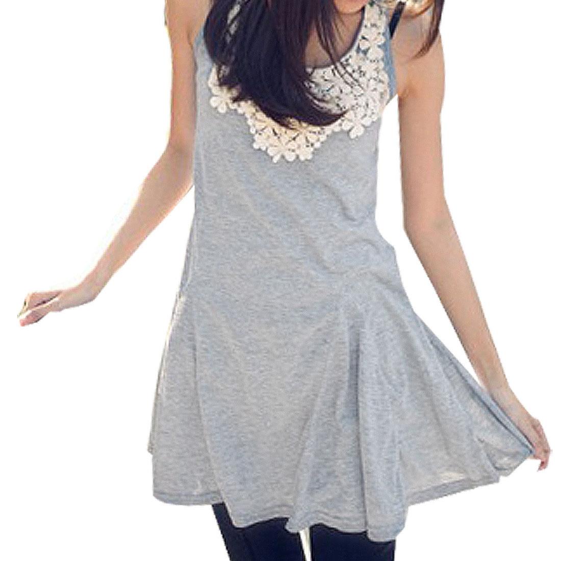 Light Gray Halter Neck Elastic Back Ruffled Hem A Line Dress XS for Woman