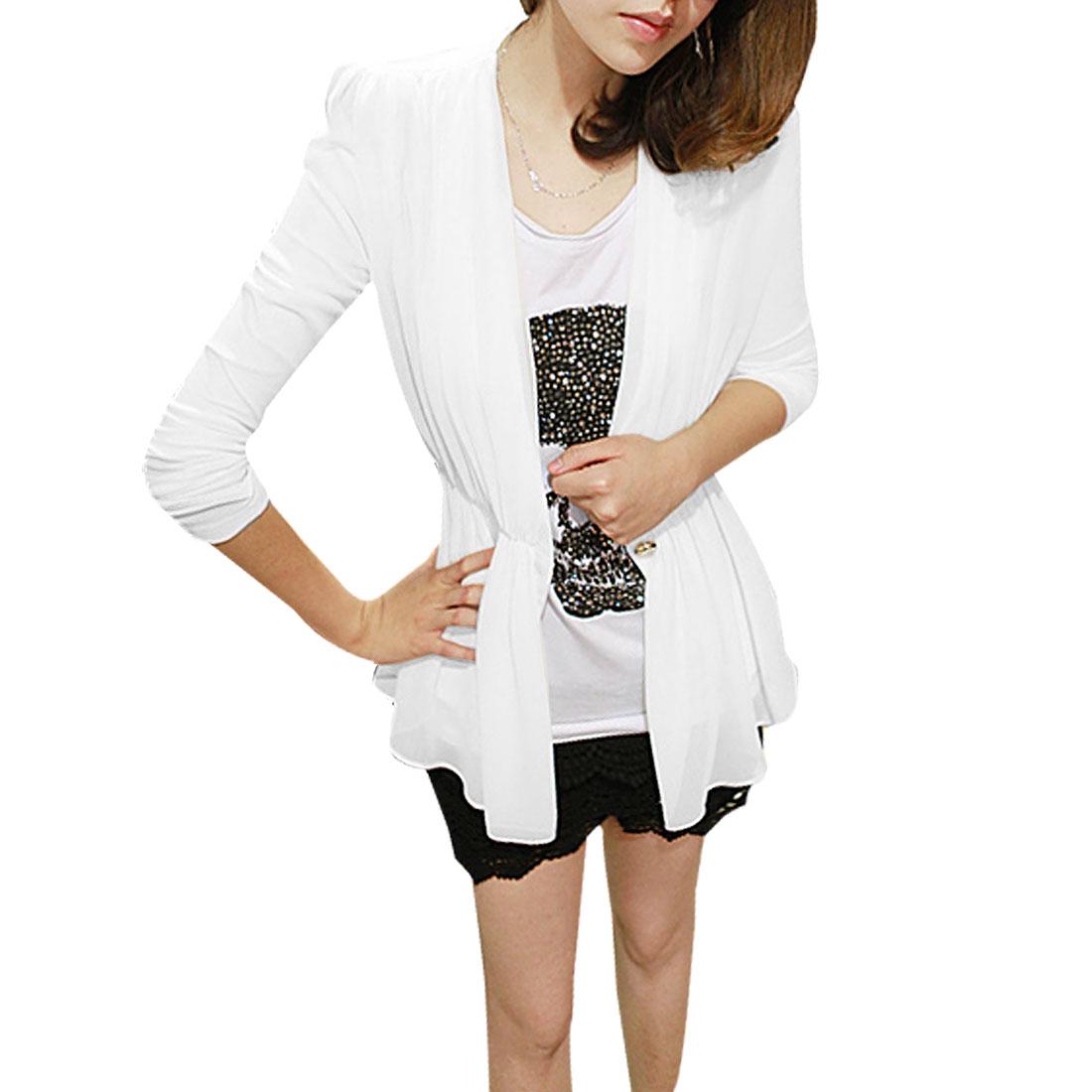 Lady White Irregular Hem Long Sleeve Padded Shoulder Chiffon Outerwear S