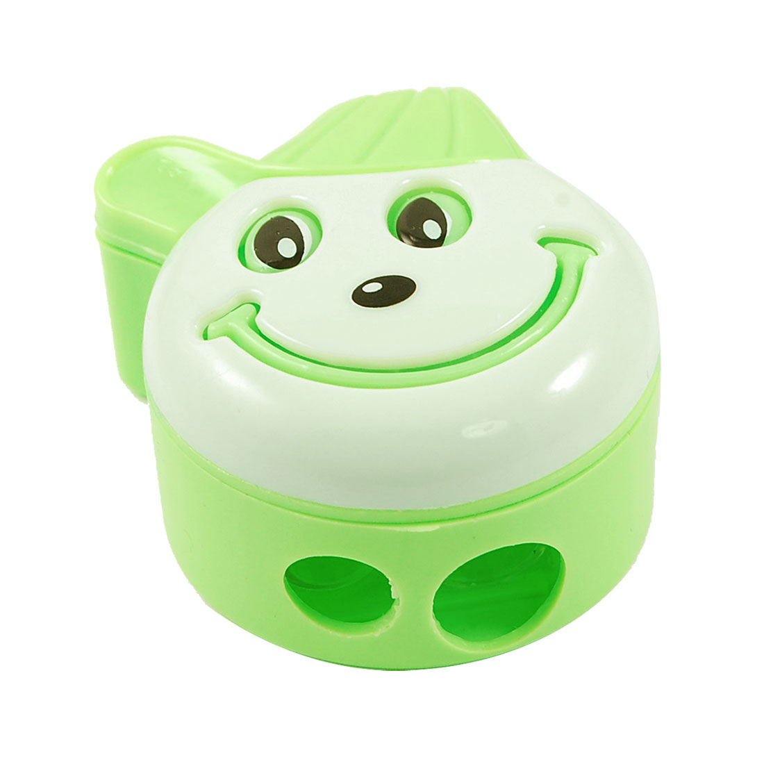 School Green Plastic Smiling Face Double Hole Pencil Sharpener