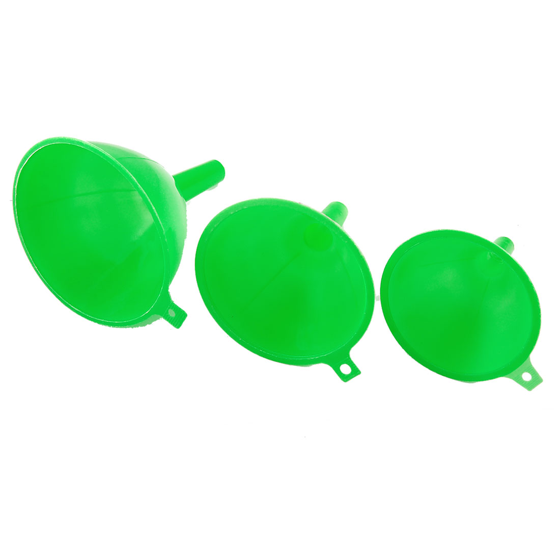 Green Plastic 3 Pcs Different Sizes Laboratory Filter Funnel Set