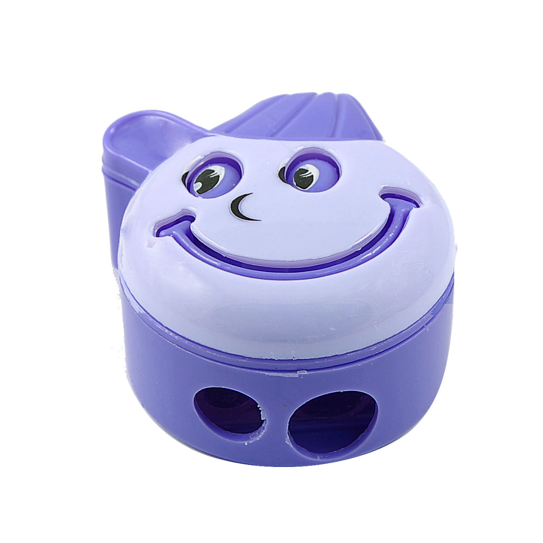 Dual Holes Metal Edge Milling Smile Face Protable Pencil Sharpener Purple