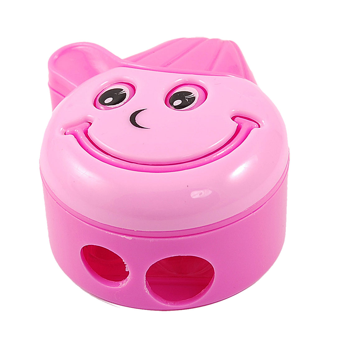 Pink Plastic Case Metal Edge Milling Daul Holes Pencil Sharpener for Students