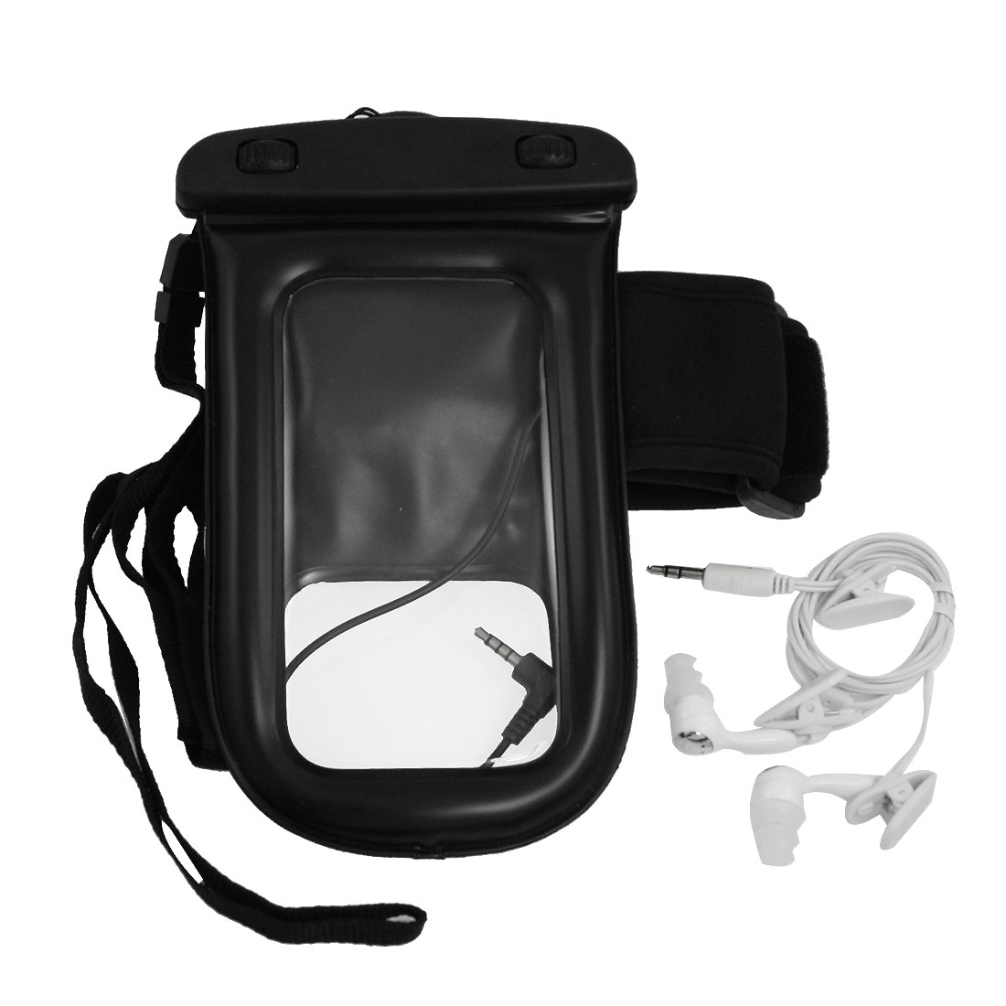 Soft Plastic Water Resistant Bag Pouch Black w Armband Earphone for Cell Phone