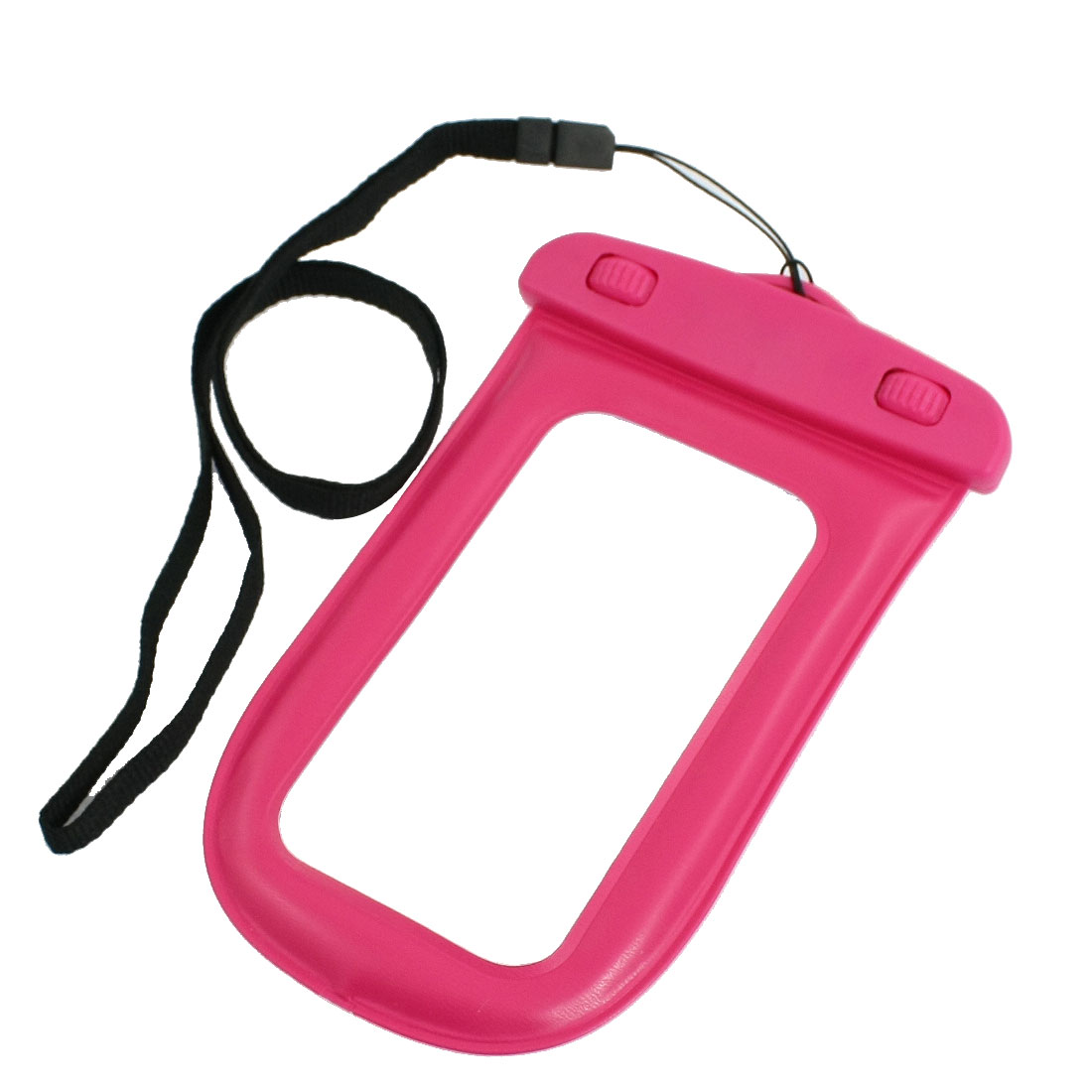 Plastic Water Resist Case Pouch Fuchsia w Strap for iPhone 3G 3GS 4 4G