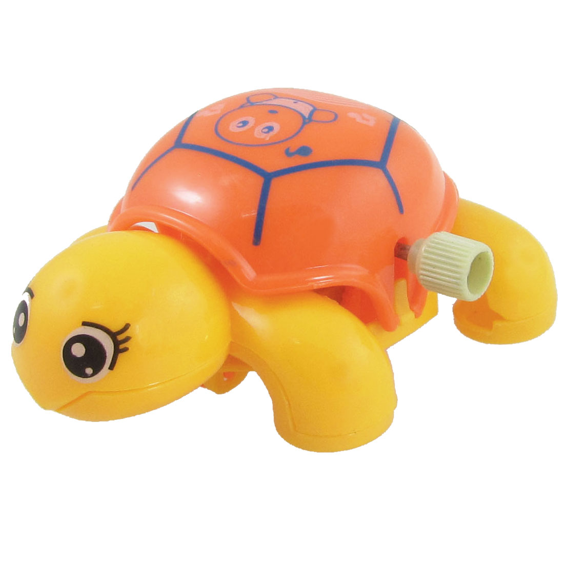 Children Orange Yellow Plastic Headshake Turtle Wind Up Clockwork Toy