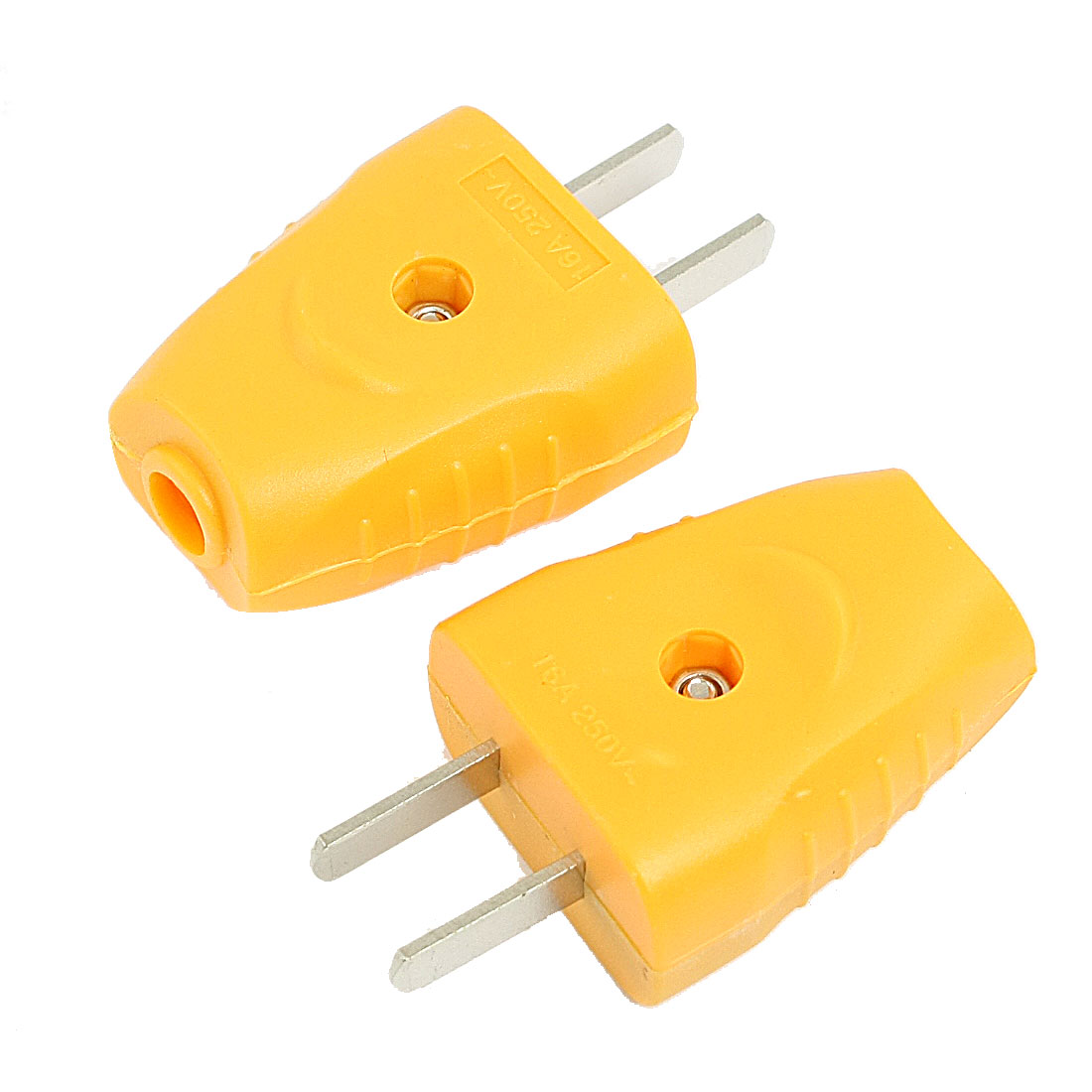 US Plug Yellow Plastic Housing Power Adapter Connector AC 250V 16A 2 Pcs