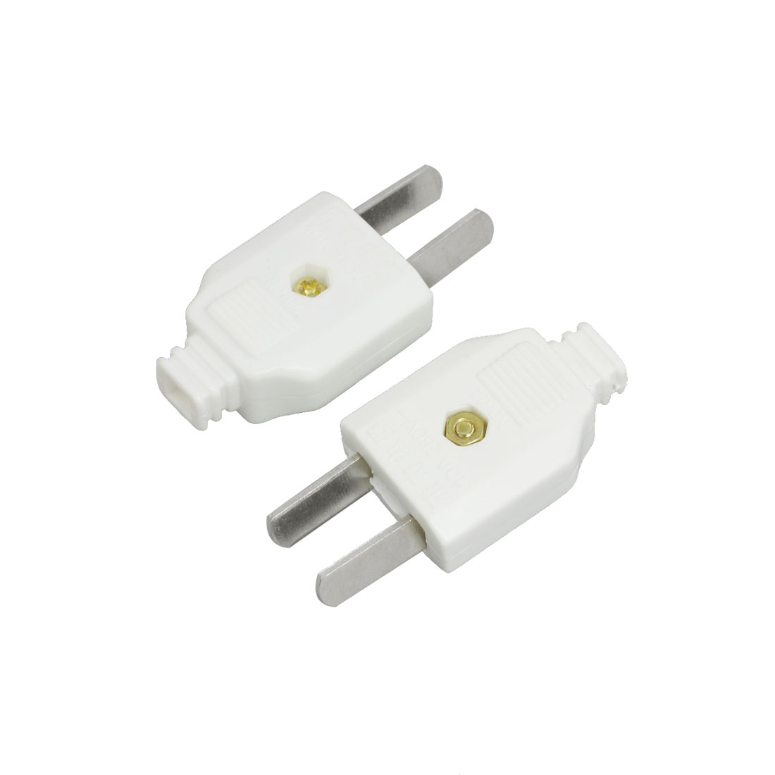 2 Pcs AC 250V 10A Rotation Power Cord 2 Pin Connector US AU Plug White