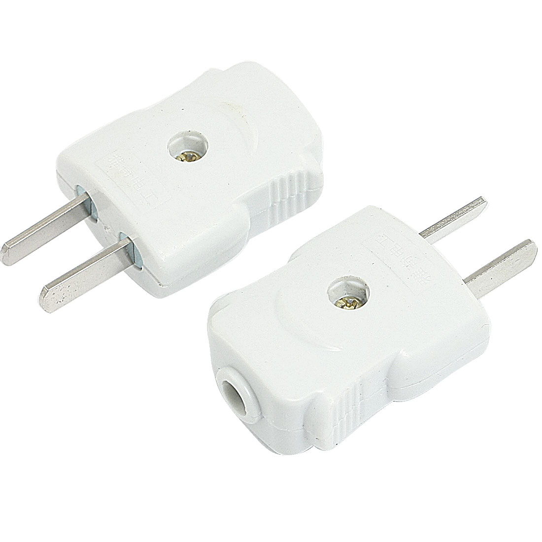 2 Pcs Adjustable Flat 2 Pin Cable Connection Adapter AC 250V 10A US Plug