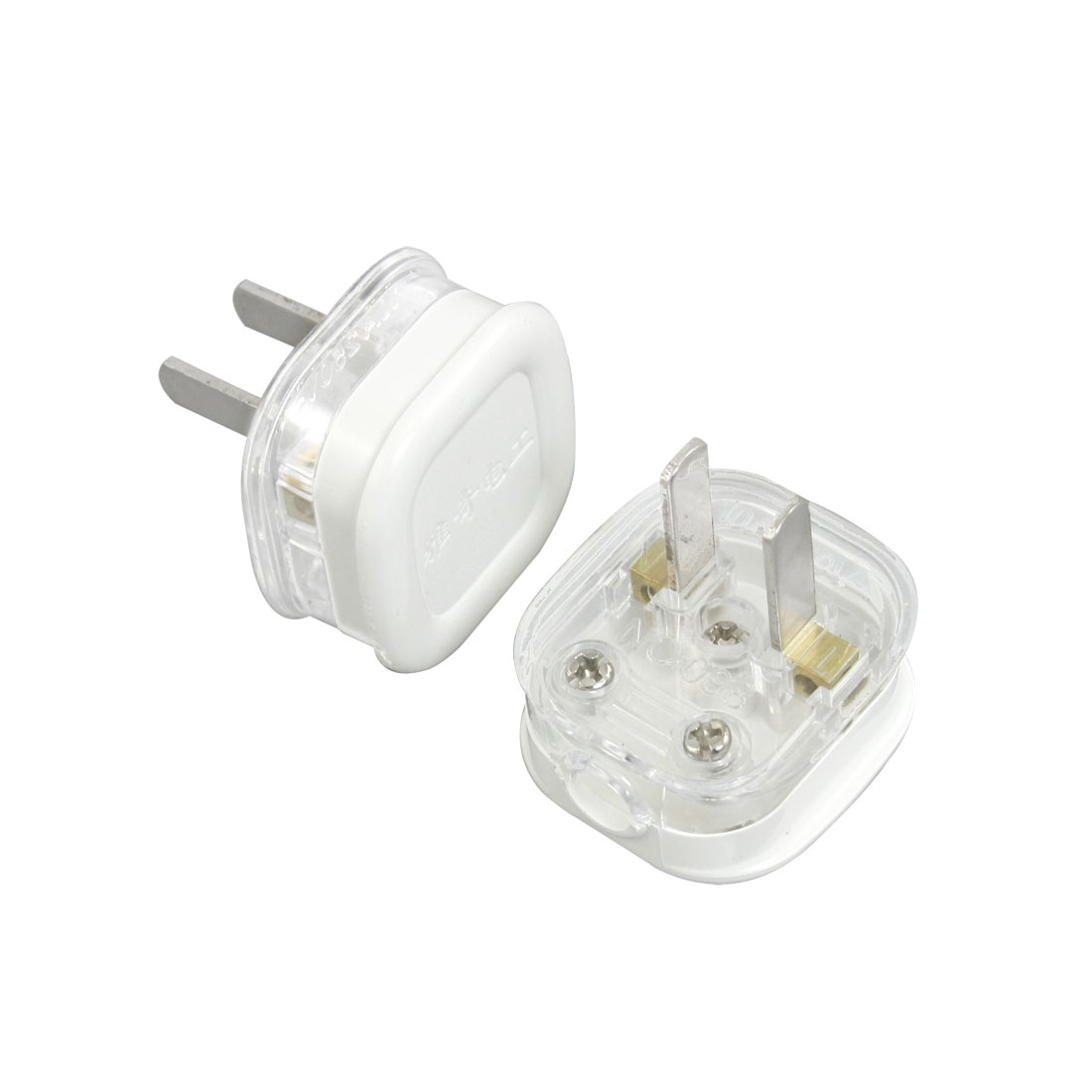 4 Pcs Home Cable 2 Flat Pin White Clear AC 250V 10A US Plug Connection