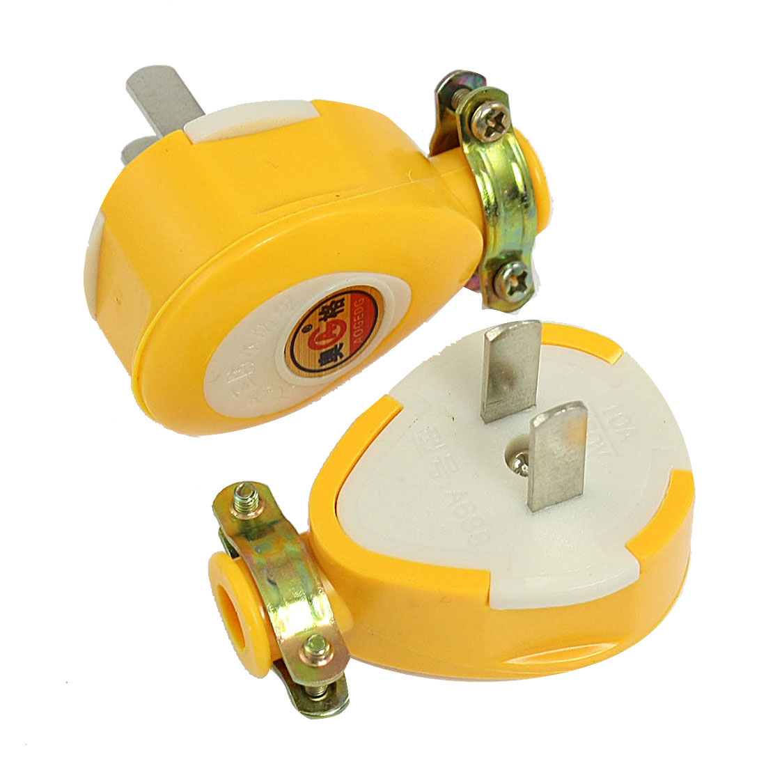 2 Pcs Yellow Plastic Shell Water Resistant AC 250V 10A US Plug
