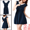 Women Sleeveless Ruffled Detail Lace Guipure Mini Dress Dark Blue M