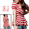 Ladies White Red V Neck Stripes Short Sleeve Casual Shirt XS