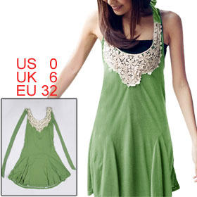 Women Crochet Floral Neckline Green Self Tie Halter Strap Dress XS
