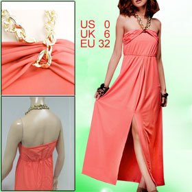 Women Oranged Sleeveless Self Tie Halter Pullover Full Length Cocktail Party Dress XS