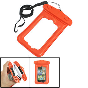 Orange Plastic Water Resistant Pouch Case w Neck Strap for iPhone 4 4G