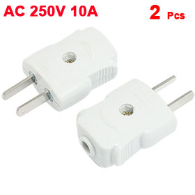 2 Pcs Adjustable Flat 2 Pin US AU Plug Cable Connection Adapter AC 250V 10A