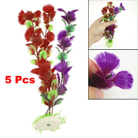 5 Pcs Triple Colors Plastic Grass w Base Decoration for Aquarium