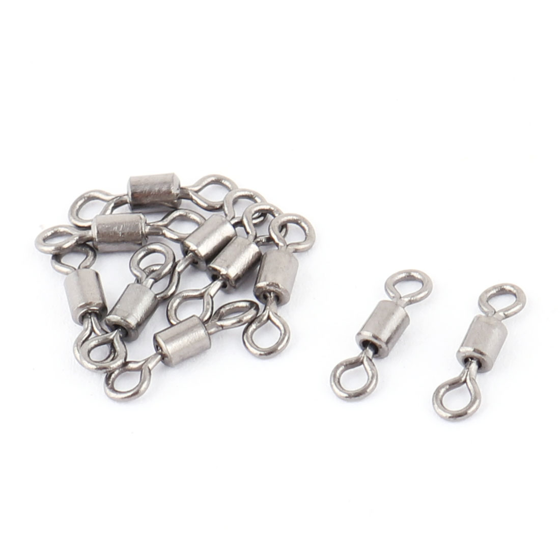 12 Pcs Silver Tone 8 Shaped Metal Fishing Crane Swivels 1cm