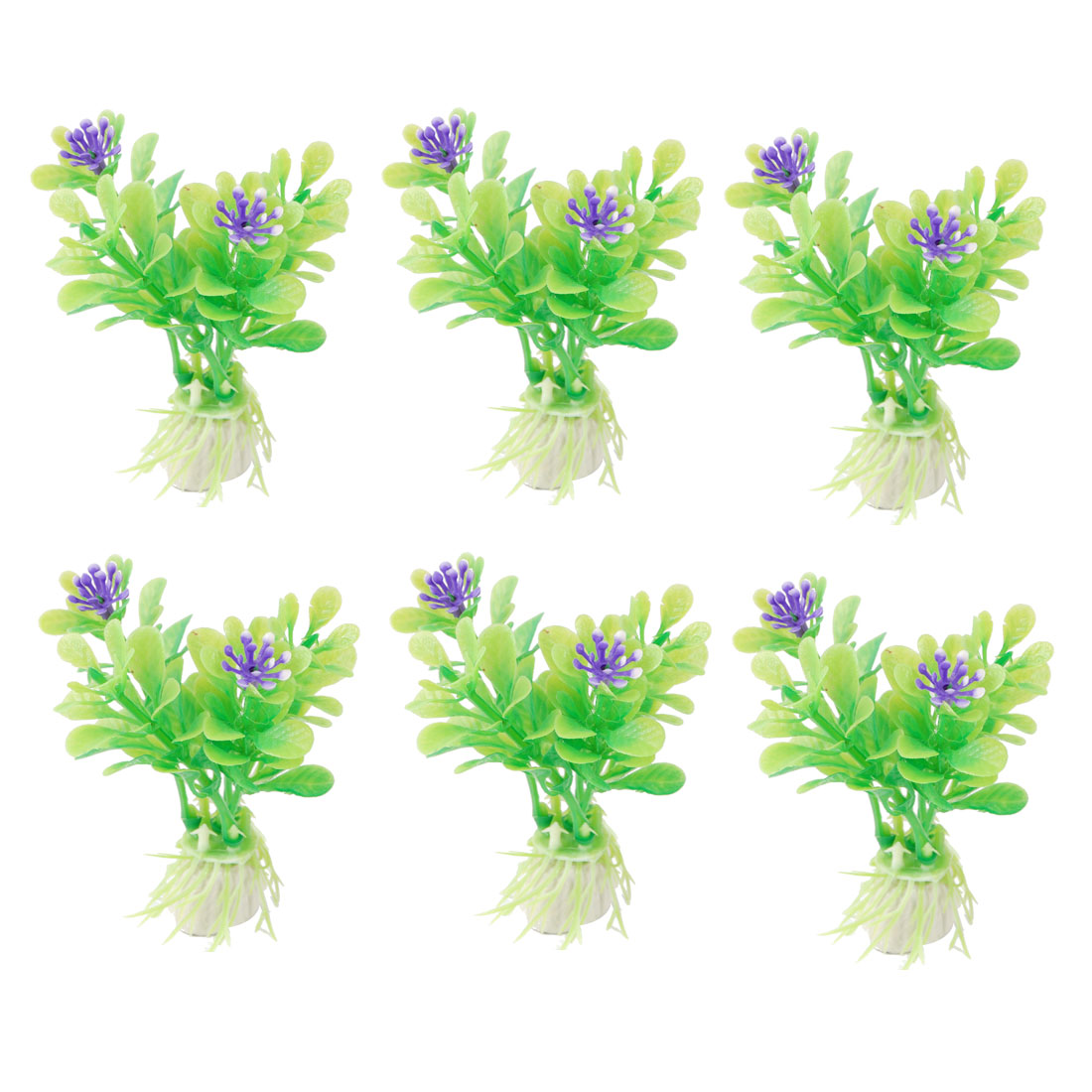 "10 Pcs Aquarium 3.2"" Height Purple Flower Decor Green Plastic Plants"
