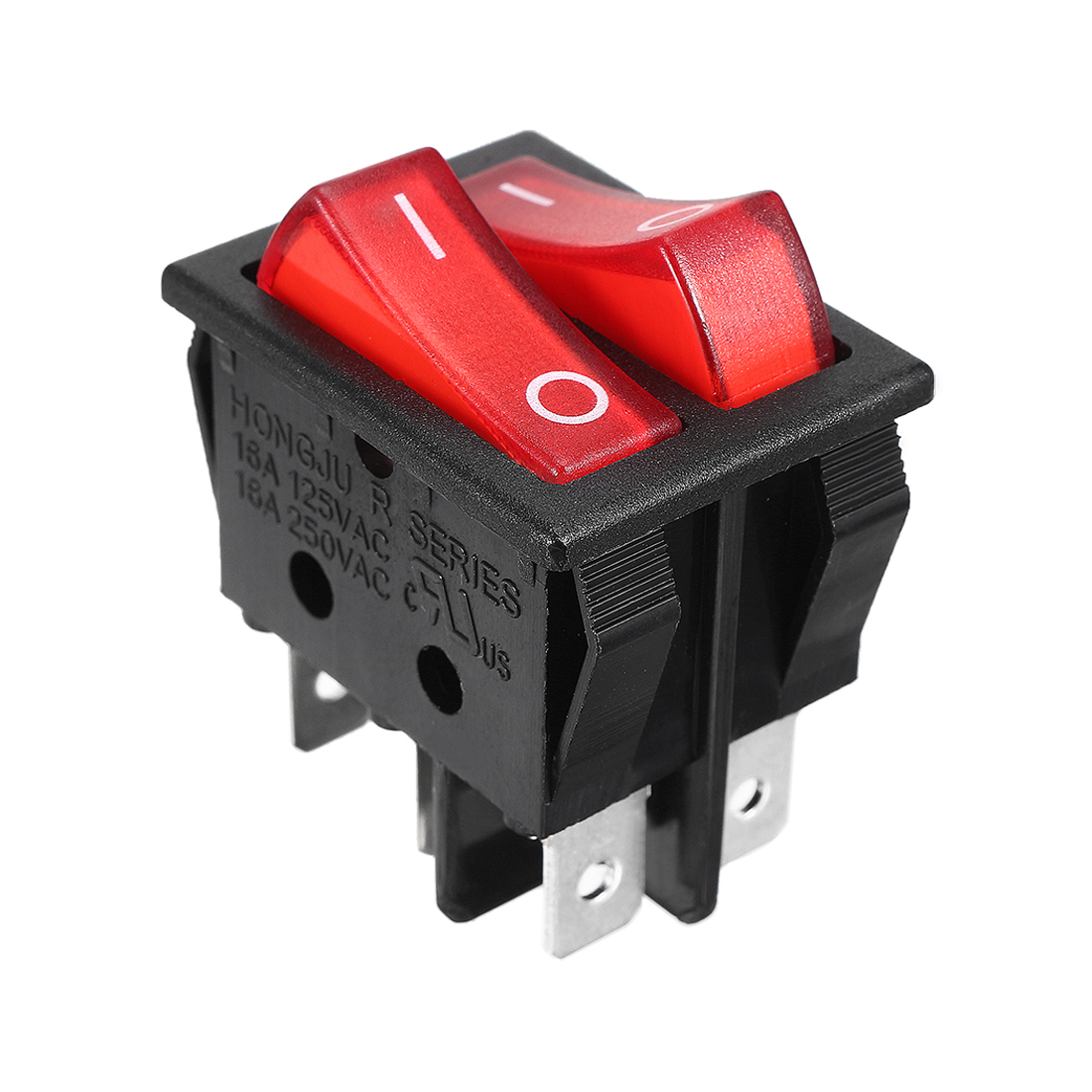 Double SPST 6 Pins On/Off Illuminated Rocker Switch AC 16A/250V