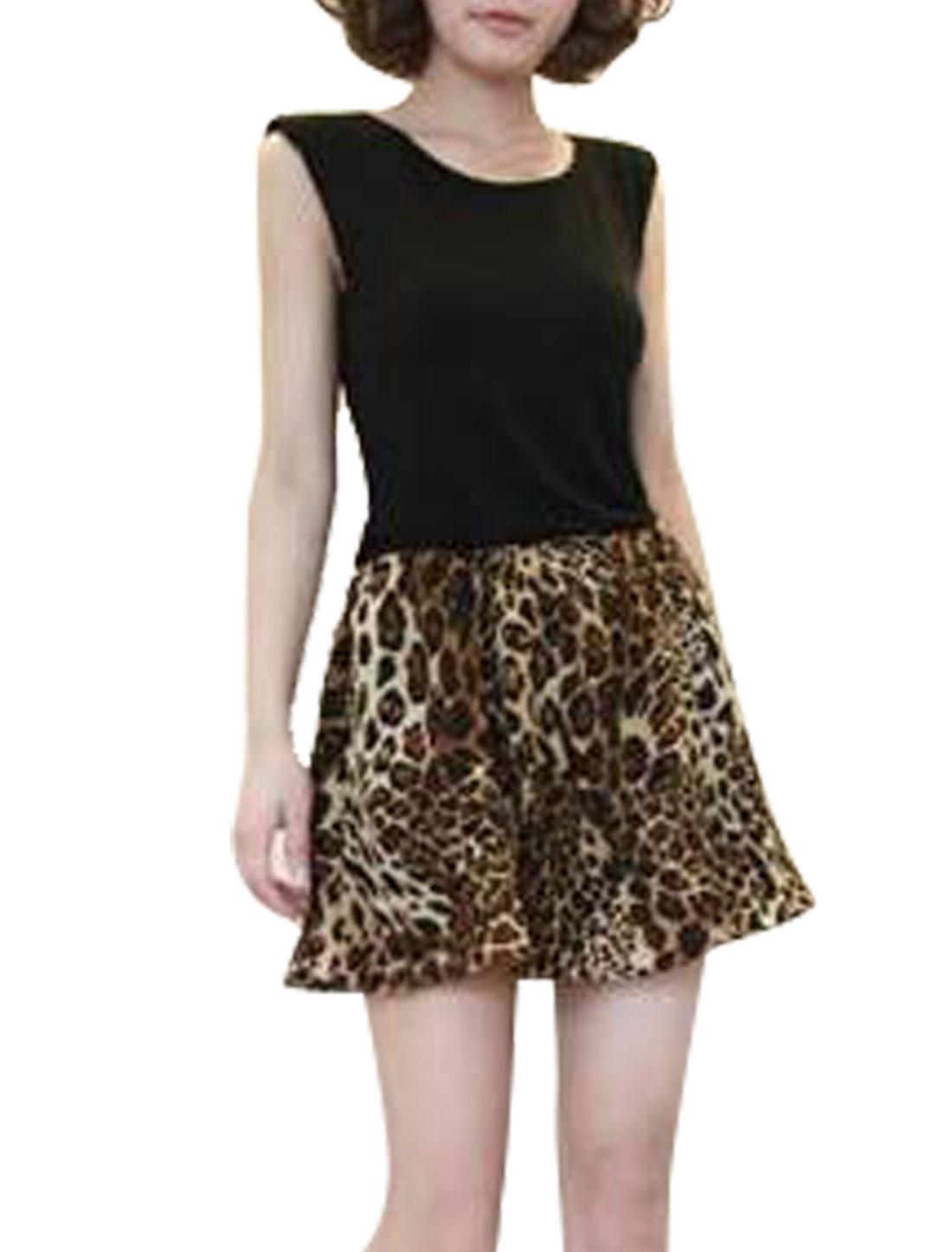 Ladies Scoop Neck Padded Shoulder Sleeveless Leopard Print Mini Dress XS