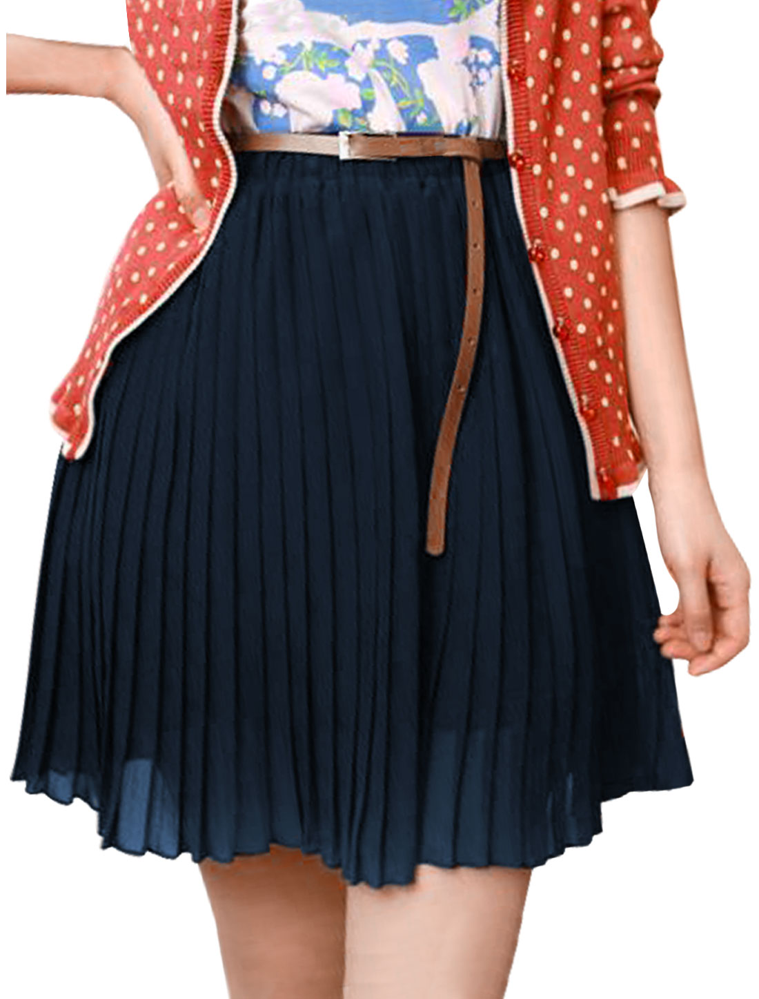 Ladies Dark Blue Pure Color Elastic Waist Pleated Skirt XS With a Buckle Belt