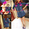 Woman Long Sleeve Single Breasted Shocking Pink Blue Denim Shirt S