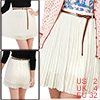 White High Waist Pure Color Pleated Skirt XS for Ladies