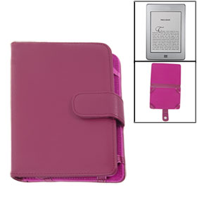 Book Shape Magnetic Flap Case Cover Magenta for Amazon Kindle 7.8""