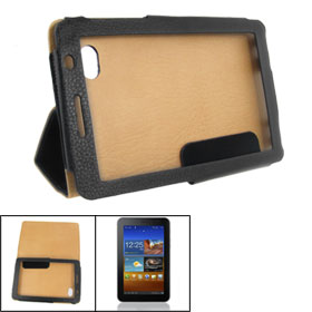 Portable Black Faux Leather Case for Samsung Galaxy Tab 6200