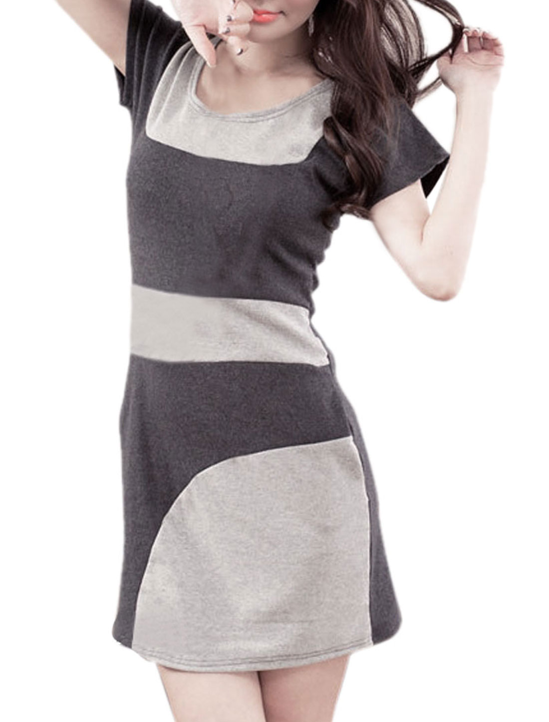 Woman Scoop Neck Two Pockets Side Dark Gray Stretchy Fitted Dress XS