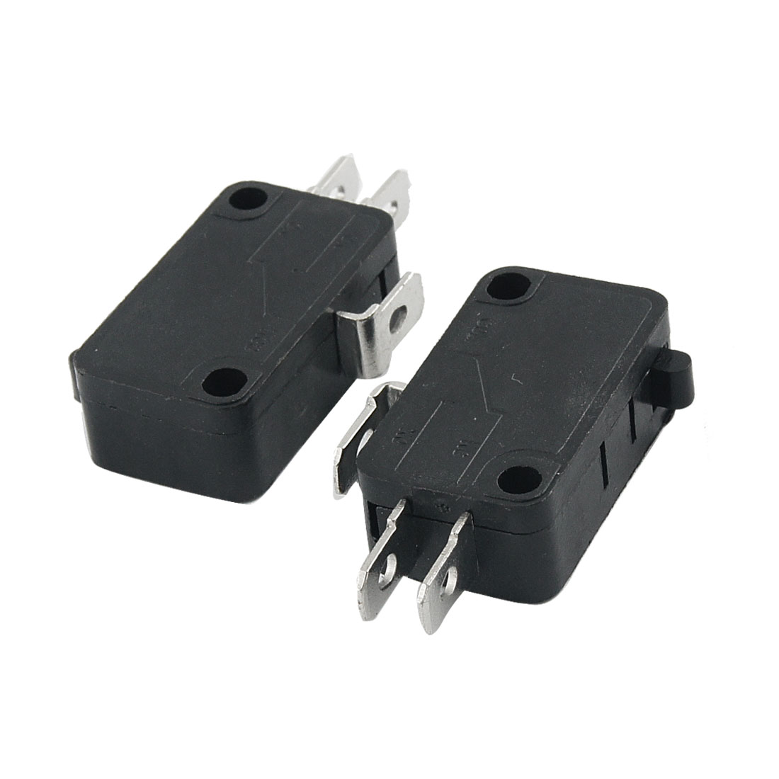 2 Pcs Electric 1NO 1NC Contacts Push Button Micro Switches Black