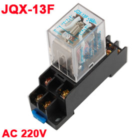 AC 220V Coil 8 Pin DPDT General Purpose Relay JQX-13F w Socket