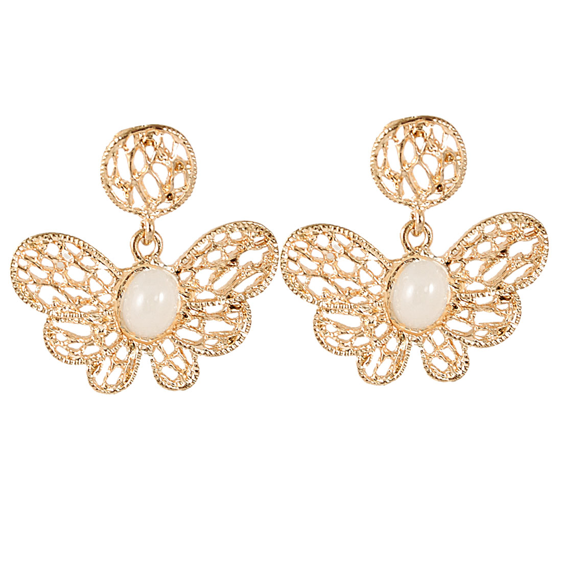 Pair Gold Tone Butterfly Dangle White Translucent Plastic Decor Ear Pin Stud Earrings