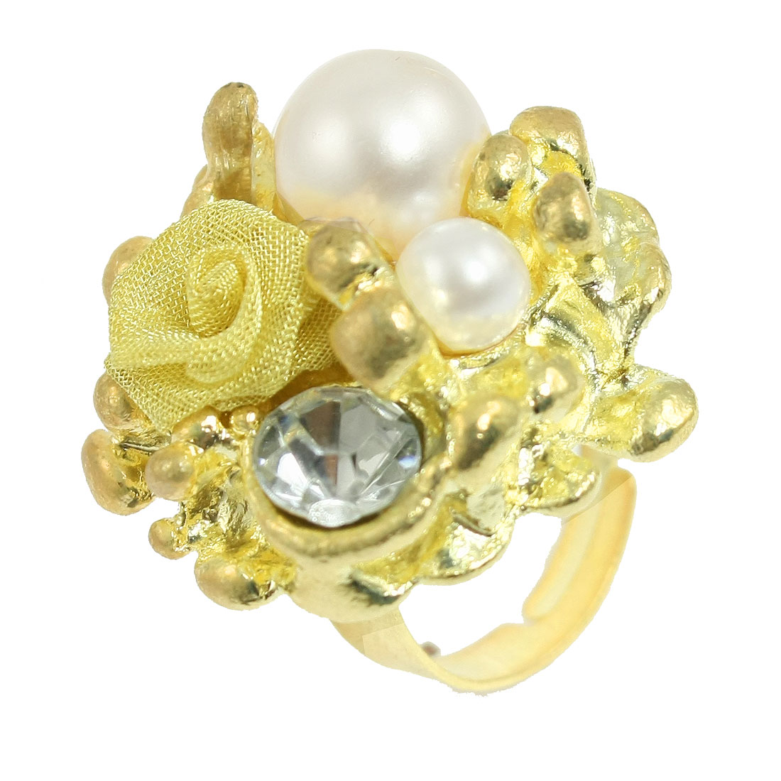 Women Adjustable Rhinestone Faux Pearl Decor Gold Tone Finger Ring US 5 3/4