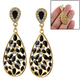 Black Gold Tone Teardrop Dangler Rhinestone Inlaid Ear Pin Stud Earrings Pair