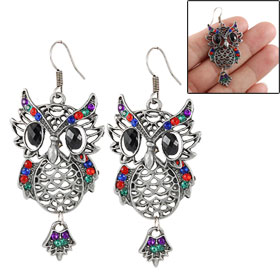 Colorful Rhinestone Inlaid Black Eyes Owl Shaped Dangler Eardrop Hook Earrings