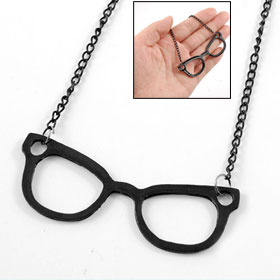 Black Glass Frame Pendant Long Metal Chain Necklace for Women