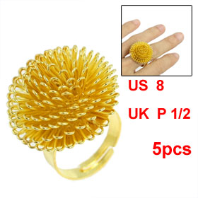 5 Pcs Women Gold Tone Metal Dandelion Flower Adjustable Ring US 8