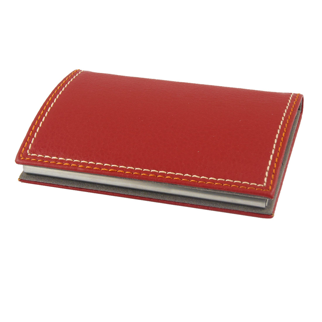 Business Red Faux Leather Coated Metal Name Card Case Holder