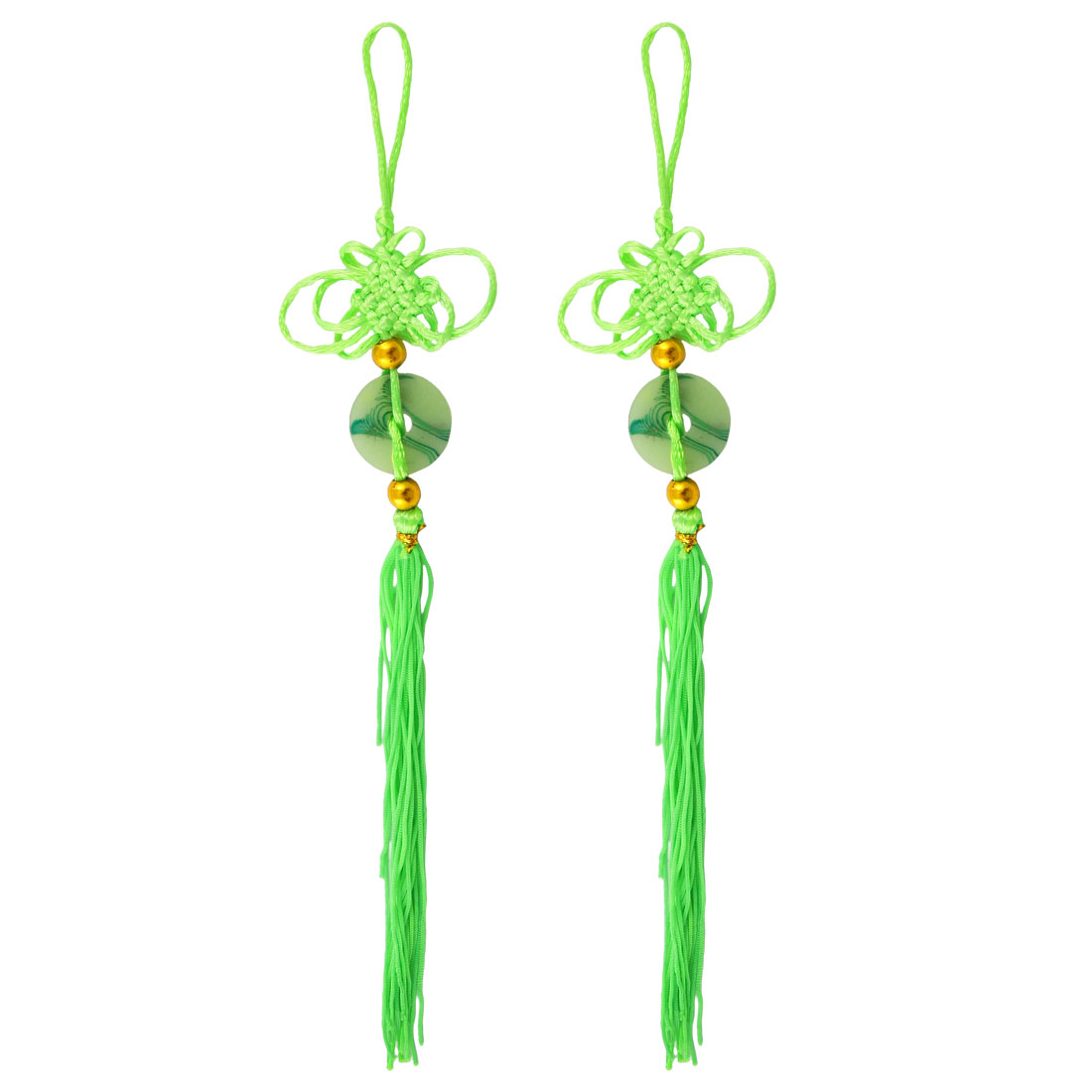 2 Pcs Faux Jade Pendant Hanger Fringed Chinese Knot Ornament Green