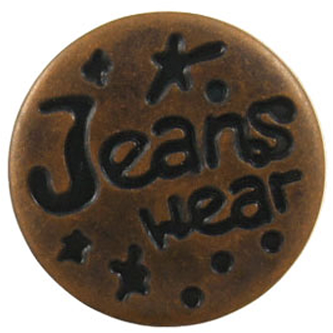 Replacement Brown Metal Carved Words Jeans Buttons 7 Pcs