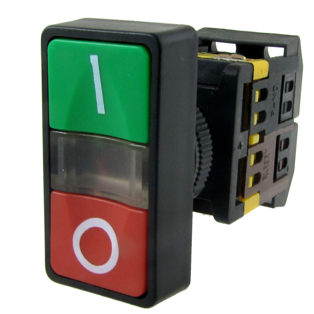 AC 220V Yellow Light ON-OFF START STOP Momentary Push Button Switch 1 NO 1 NC