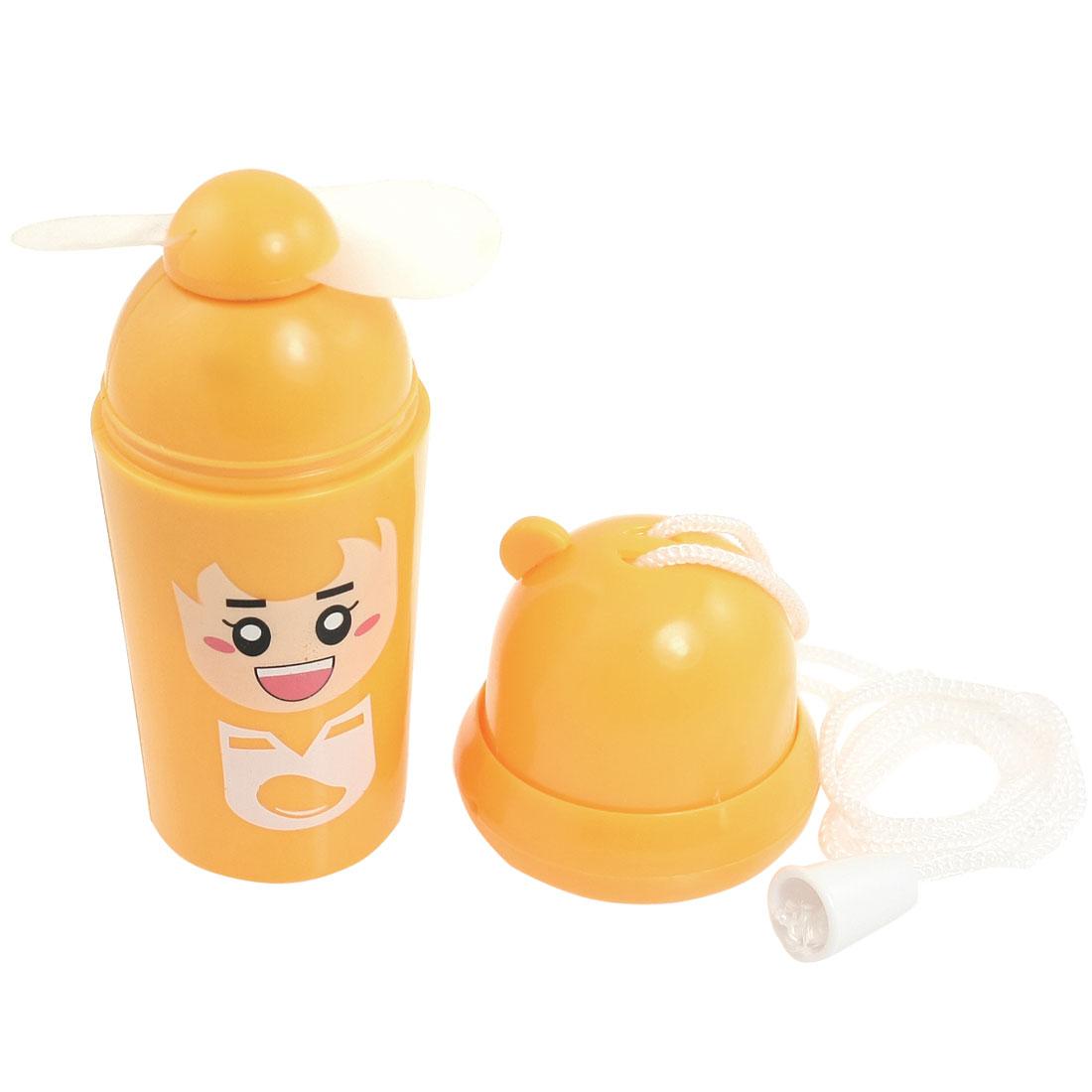 Orange Plastic Ice Cream Cone Shaped Electronic Mini Fan + Neck Strap